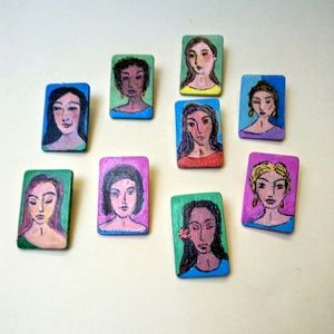 Women's Portrait Pins, Painted & Signed by Artist